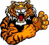 image of growl  - Tiger with Fighting Hands Mascot Body Vector Illustration - JPG