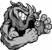 Graphic Vector Image Of A Boar Or Wild Pig Mascot With Fighting Hands