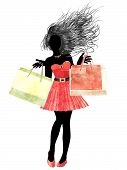Watercolor Shopping Girl Silhouette