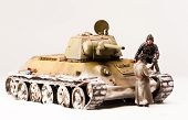 stock photo of cold-war  - Halt of tank crew at war in the second world war - JPG