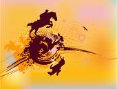 Abstract Rider Silhouette In Yellow Color