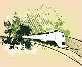 Abstract Train Silhouette With Blots