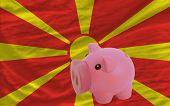 Reich Sparschwein und Nationalflagge Mazedonien