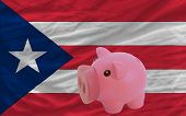 Reich Sparschwein und Flagge Puertorico