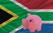 Reich Sparschwein und Nationalflagge der Republik Südafrika