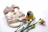 Pair Of Pink Leather Girl Sandals By Carnation Flows Next Ceramic Decorative Bird