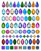 picture of precious stones  - illustration set of precious stones of different cuts and colors - JPG