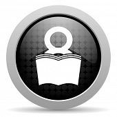 livro círculo preto web glossy icon