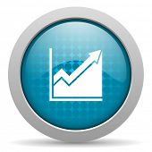 histogram blue circle web glossy icon