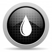 water drop black circle web glossy icon