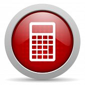 calculator red circle web glossy icon