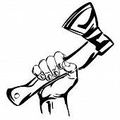 hand holding ax vector