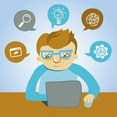 stock photo of caricatures  - Vector cartoon programmer working on his laptop - JPG
