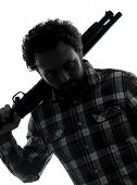 picture of serial killer  - one man serial killer shotgun  silhouette studio isolated on white background - JPG