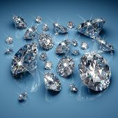 Brilliant diamonds on blue background
