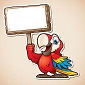 image of animated cartoon  - Cartoon illustration of macaw holding blank sign - JPG