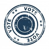 Vote concept stamp isolated on a white background.