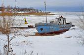 Winter Landscape. Old Ship.