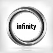 Metallic infinity swirl icon.