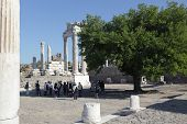 BERGAMA, TURKEY - AUGUST 16: Tourists in the ancient city of Pergamon, now Bergama, Turkey on August 16, 2011