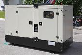 stock photo of generator  - Mobile diesel generator for emergency electric power - JPG