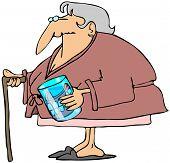 Oude vrouw met tanden in een glas