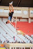 MOSCOW - JUN 11: Pole vaulter at Grand Sports Arena of Luzhniki OC during International athletics co