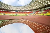 MOSCOW - JUN 11: Pit of water on track for steeplechase at Grand Sports Arena of Luzhniki OC at inte