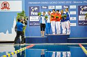 MOSCOW - APR 13:  Female athletes-medalists are pfotographed on victory podium at Pool of SC Olympic