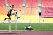 MOSCOW - JUN 11:The athlete jumps to overcome an obstacle on International athletic competition Moscow Challenge on June 11, 2012 in Luzhniki, Moscow, Russia