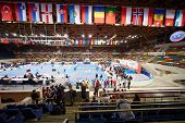 MOSCOW - JUN 9: Small sports arena of Olympic Complex Luzhniki during 10th Team Championship of Europe on karate, Jun 9, 2012, Moscow, Russia. 535 athletes from 45 countries took part in Championship.