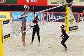 MOSCOW - JUNE 6: Female teams from Brazil play volleyball in Country Quota at tournament Grand Slam of beach volleyball 2012, on June 6, 2012 in Moscow, Russia.