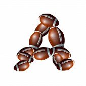 american football alphabet  - letter font A