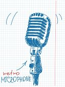 Hand drawn studio microphone