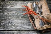 stock photo of banquet  - Rustic table setting on wooden table in brown tone - JPG