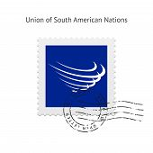 picture of south american flag  - Union of South American Nations Flag Postage Stamp on white background - JPG