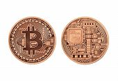 stock photo of golden coin  - Golden Bitcoin   - JPG