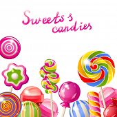 stock photo of lollipops  - Background with bright colorful lollipops - JPG