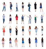 "Collection "" Back view people "".  Rear view people set.  backside view of person.  Isolated over whi"