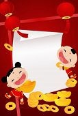 Chinese new year fortune girl and boy vector