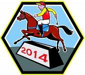 Year Of Horse 2014 Jockey Jumping Cartoon