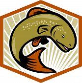 Trout Jumping Cartoon Shield
