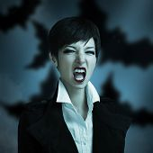 stock photo of vampire bat  - Attractive woman in the image of a vampire on a blue background with smoke - JPG
