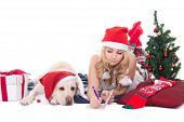 Teenage Girl With Dog In Santa Hat And Christmas Tree Isolated On White