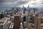 foto of illinois  - Chicago skyline on a stormy winter - JPG