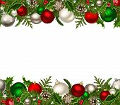 picture of mistletoe  - Vector Christmas horizontal seamless background with red and silver balls - JPG