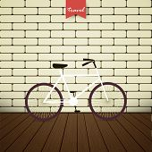 Illustration Bicycle Over Brick Wall