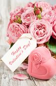 Gift Box In The Shape Of Hearts And Pink Roses With Label