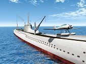 image of u-boat  - Computer generated 3D illustration with a Japanese Submarine from the second world war - JPG