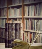 Vintage Books With Bookshelves